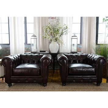 Estate Chesterfield Style Top Grain Leather Standard Arm Chair Saddle (Set of 2)