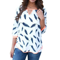 Fashion Women 3/4 Long  V-neck Sleeve Cotton Blend Shirt  Casual Leaves Print Tops Blouse