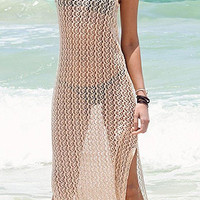 Beige Beach Cut Out Sleeveless Maxi Cover-up