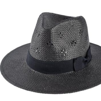 Women's Woven Panama Hat with Eyelet Details