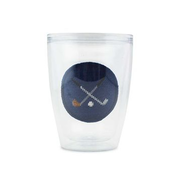 Crossed Clubs Needlepoint Tumbler by Smathers & Branson