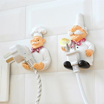 Cook Strong Self-Adhesive Wall Storage Hook Hanger Cartoon Kitchen Outlet Plug Holder