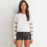 Mesh Cutout Long Sleeves  Baseball Style Ribbed Sweater