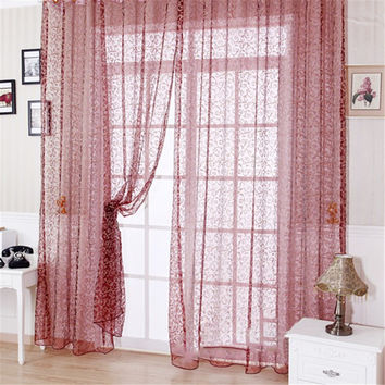 Floral Drape Panel Sheer Scarf Valance Tulle Voile Door Window Curtain