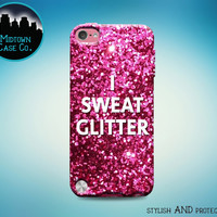 I Sweat Glitter Pink Purple Violet Red Glitter Fitness Strength Goals Funny Cool Case for iPod Touch 6th Generation Gen iPod Touch 5th Gen