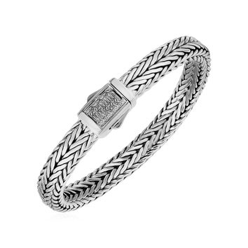 Wide Woven Rope Mens Designer Bracelet in Sterling Silver and 18K Yellow Gold