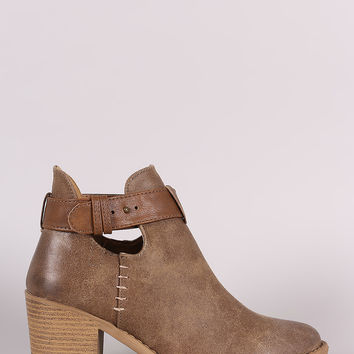 Qupid Almond Toe Blocked Heeled Ankle Boots