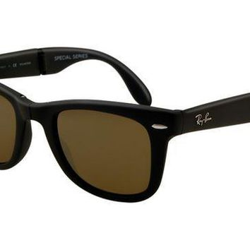 Ray Ban RB4105 Folding Wayfarer Sunglasses Black Frame Crystal B