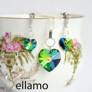 Rainbow sparkle jewelry set with stud earrings and necklace with Vitrail medium Swarovski hearts, green, peacock color mix, sterling silver