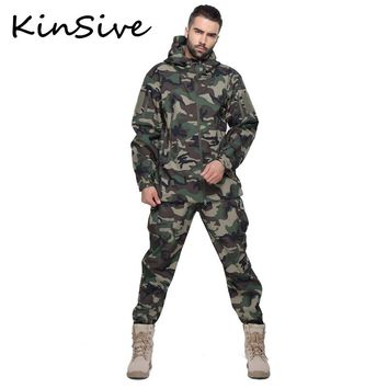 Tactical Softshell Camouflage Suit Men Army Warm Military Uniform Waterproof Windproof Men Clothing Tracksuit 2 Piece Sets