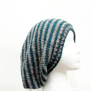 Oversized hat turquoise and tan, hand knitted   5268
