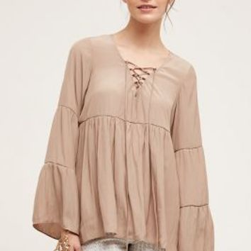 Lola and Sophie Aja Peasant Top in Taupe Size: