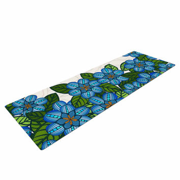 "Art Love Passion ""Blue Flower Field"" Beige Blue Yoga Mat"
