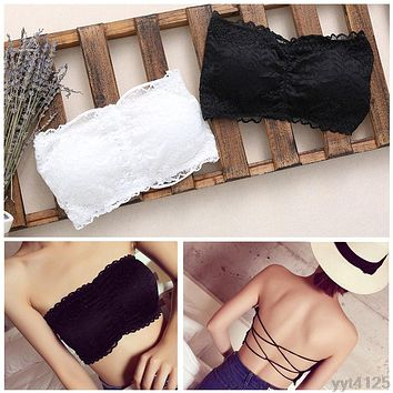 Women Strapless Lace Camisole Backless Bra Bandeau Slim Sexy Tube Tops 2018 summer hot sell