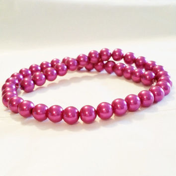 Fuchsia Glass Pearls | 4mm Glass Pearls | Pink Pearl Beads | Beading Supplies | 4mm Round Beads | Small Glass Beads | Jewelry Supply