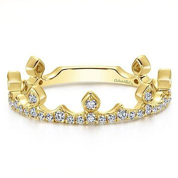 14K Yellow Gold Diamond Crown Stackable Ring