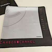 NEW AUTHENTIC CHANEL SATIN BIG LOGO BORDER LETTER PRINT GRAY 100% SILK SCARF