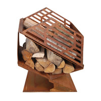 Steel Outdoor Fireplace with Storage