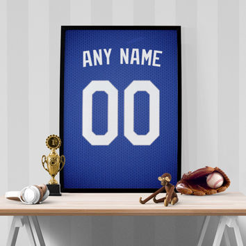 Los Angeles Dodgers Jersey Poster - Print Personalized Select ANY Name & ANY Number