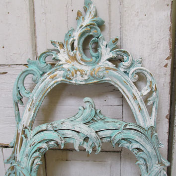Aqua blue frame grouping shabby chic ornate collection of 7 vintage repurposed wall decor anita spero