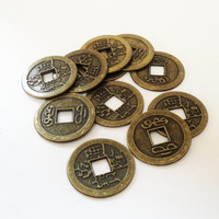 Brass Chinese Round Coin, Brass Ching Dynesty Coin, Double Sided Ancient Chinese Coin with Drilled Hole (10) Pieces 24mm, Diy Jewelry Making