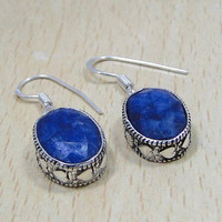 Sapphire & 925 Sterling Silver Overlay Earrings 34mm Lovely Heart Detail, Sept Birthstone,For Success In Business/Money,Silver Sapphire
