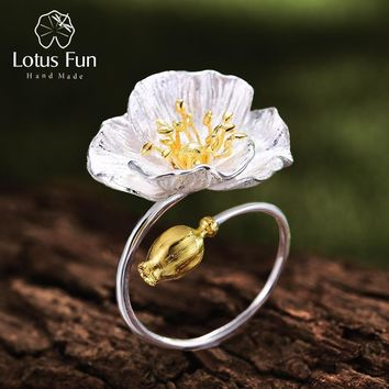 Lotus Fun Real 925 Sterling Silver Handmade Designer Fine Jewelry Blooming Poppies Flower Rings for Women Bijoux