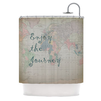 "Catherine Holcombe ""Journey"" World Map Shower Curtain"