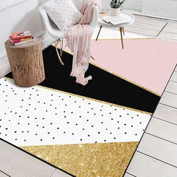 Autumn Fall welcome door mat doormat Modern Geometric Pink White Golden Black Polka Dots  Bathroom Parlor Living Room Bedroom Home Decorative Carpet Area Rug AT_76_7