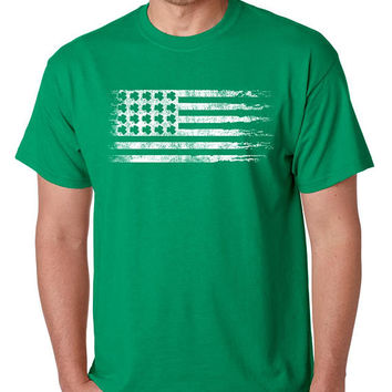 Mens Shirt Irish St Patrick's Day USA Flag Mens T shirt Shamrock Irish Gift Tshirt Cool Shirts Party Irish T shirt Ireland Green Tee shirt
