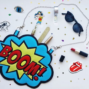 BOOM! SUPERWOMAN  Clutch & Handbag ,Felt Clutch -Handbag, Crossbody Bag ,Small Felt Bag, Cosmetic Bag. Glitter Bag