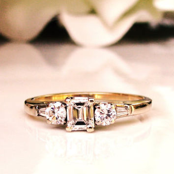 Elegant Emerald Cut Vintage Engagement Ring 0.63ctw Emerald, Round & Baguette Diamond Engagement Ring 14K Two Tone Gold Diamond Wedding Ring