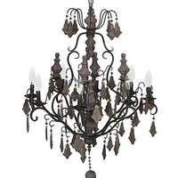 WOODEN BEADED 8 LIGHT CHANDELIER