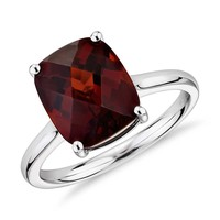 Garnet Cushion Cut Ring in 14k White Gold (11x9mm) | Blue Nile