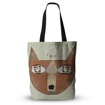 "Bri Buckley ""Fox Face"" Brown Tan Everything Tote Bag"