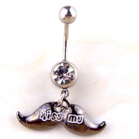 New Charming Dangle Crystal Navel Belly Ring Bling Barbell Button Ring Piercing Body Jewelry = 4804924740