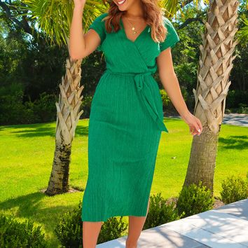 Busy And Beautiful Dress: Emerald Green