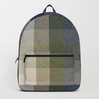Chambray Fiord Swirly Plaid Backpack by deluxephotos