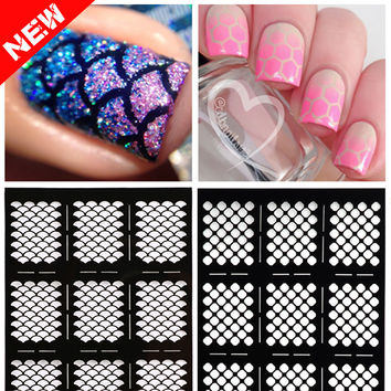 1sheet New Reusable Stamping Nail Art Hollow Black Templates Stencils Stickers Vinyls Image Guide Polish Manicure Tools