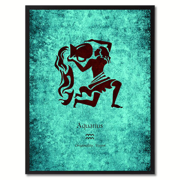 Aquarius Horoscope Astrology Canvas Print, Picture Frame Home Decor Wall Art Gift