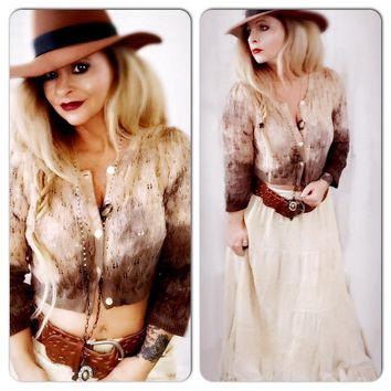 Brown boho cropped sweater, free spirit, Free people, Love True Rebel Clothing