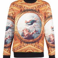 MULTI NEOPRENE RENAISSANCE PATTERNED SWEATSHIRT - New In - TOPMAN USA