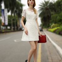 Floral Lace Square Neck Short Sleeve High Waist A-Line Mini Dress