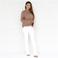 High Waist Flare Bell Bottom Jegging Pants In White
