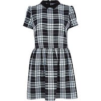 River Island Womens Black and white plaid skater dress