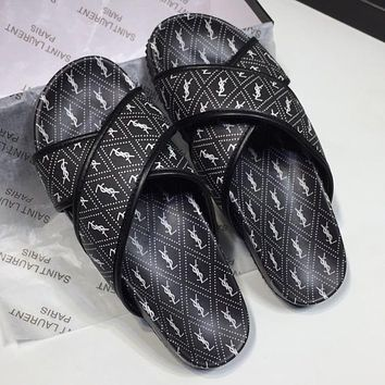YSL new fashion couple models full printed letters cross leisure slippers