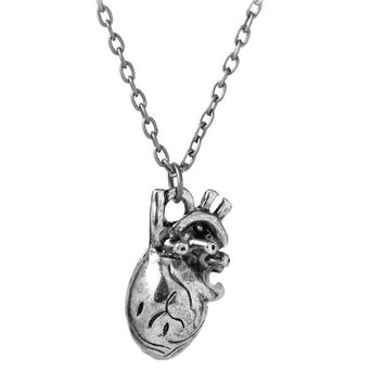 Human Hollow Heart Pendant Necklace