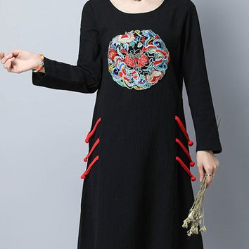 Casual Round Neck Slit Pocket Embroidery Cotton/Linen Shift Dress