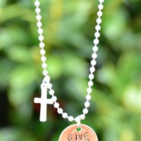 """Give Grace"" Penny Necklace With Cross"