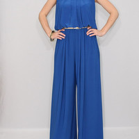 Cobalt blue Jumpsuit women Wide leg jumpsuit Halter jumpsuit